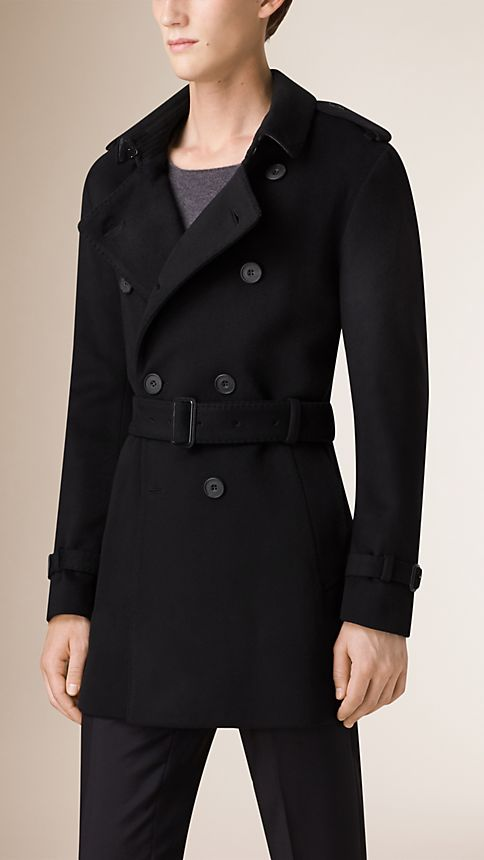 Black Mid-Length Virgin Wool Cashmere Trench Coat - Image 2