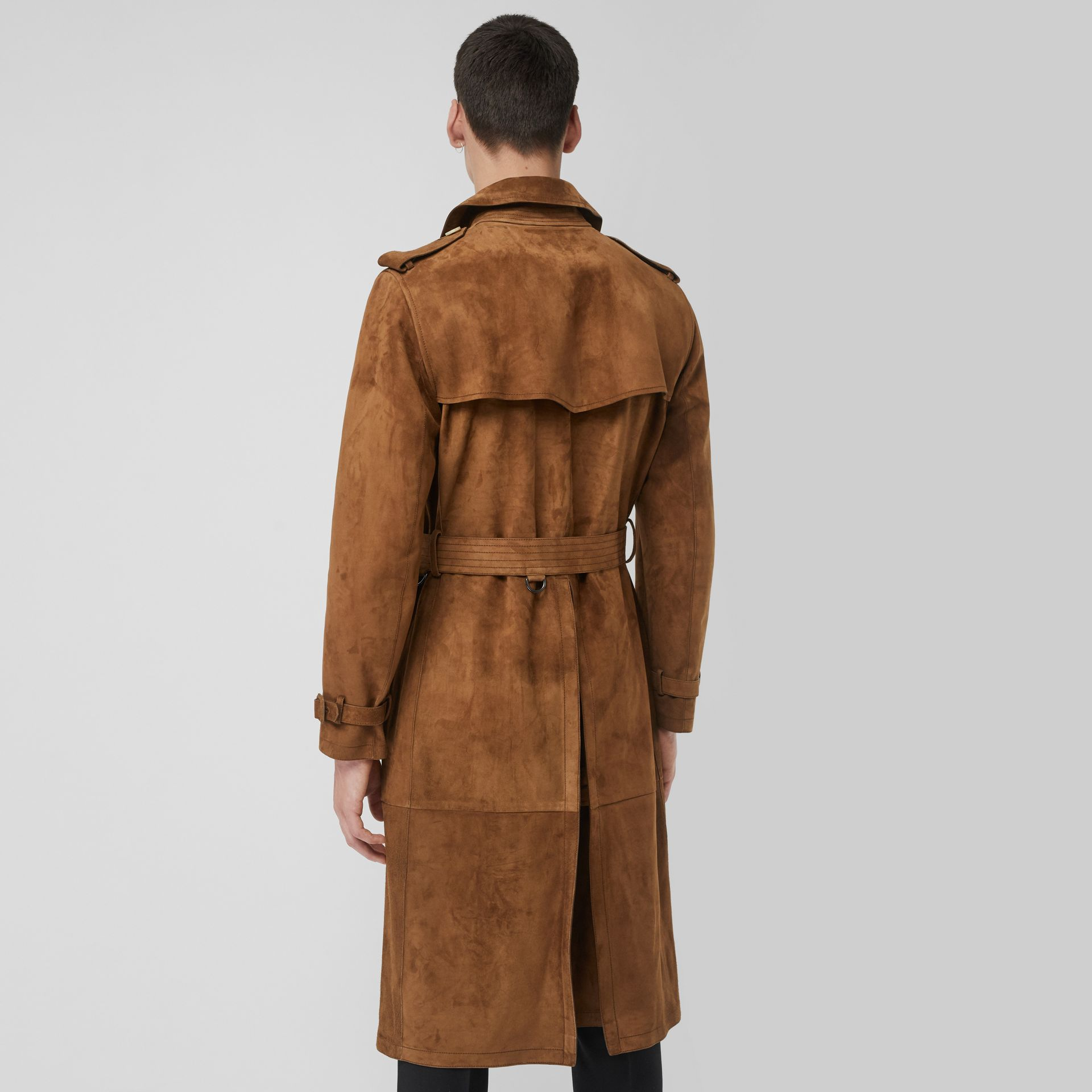 Suede Trench Coat in Sepia Brown - Men | Burberry United Kingdom - gallery image 2