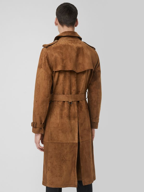 Suede Trench Coat in Sepia Brown - Men | Burberry - cell image 2
