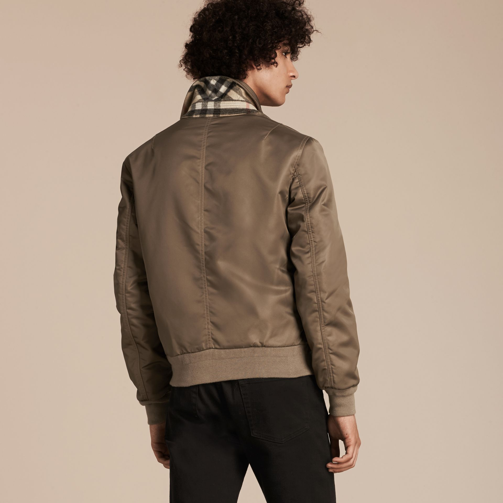 Satin Bomber Jacket with Check Undercollar in Dark Taupe - gallery image 3