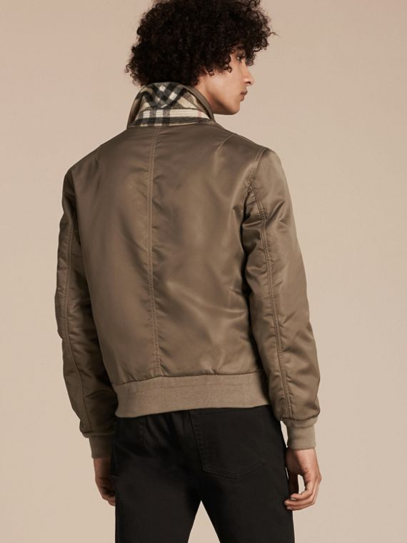 Satin Bomber Jacket with Check Undercollar in Dark Taupe - cell image 2