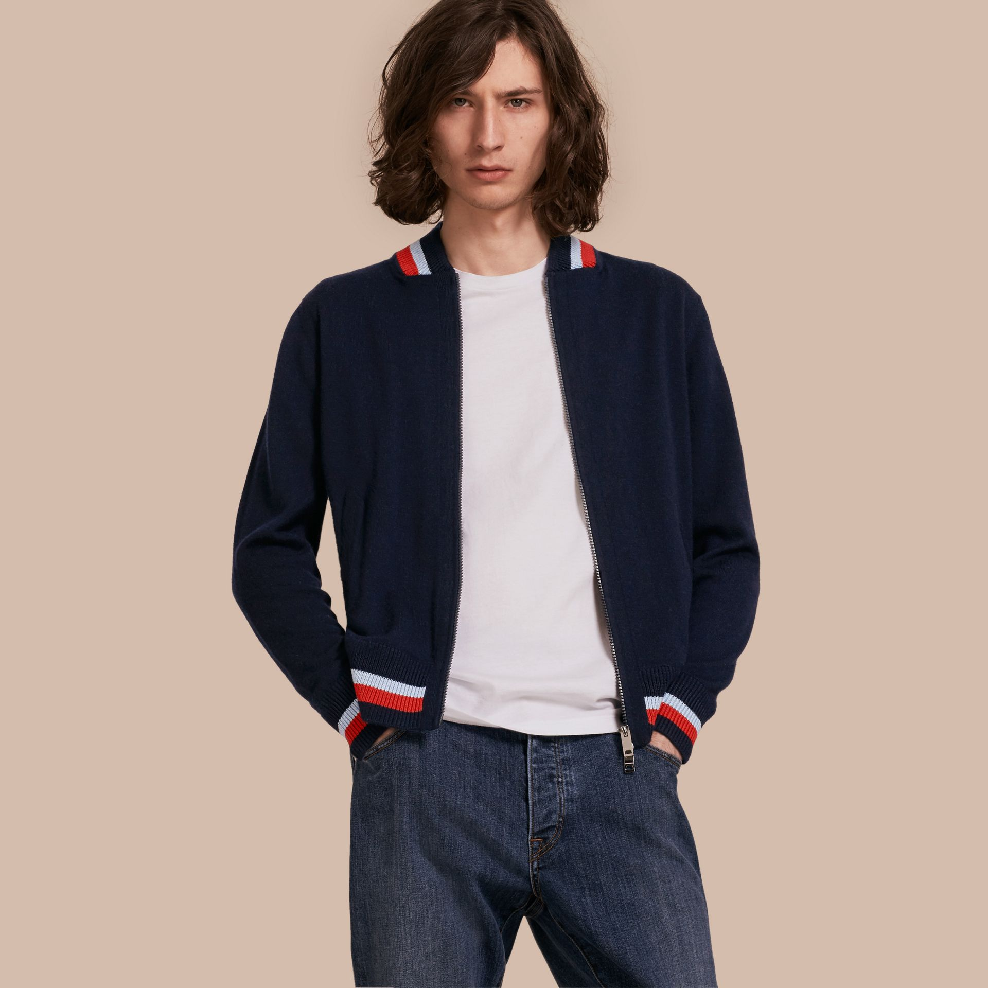 Navy Knitted Cashmere Bomber Jacket - gallery image 1