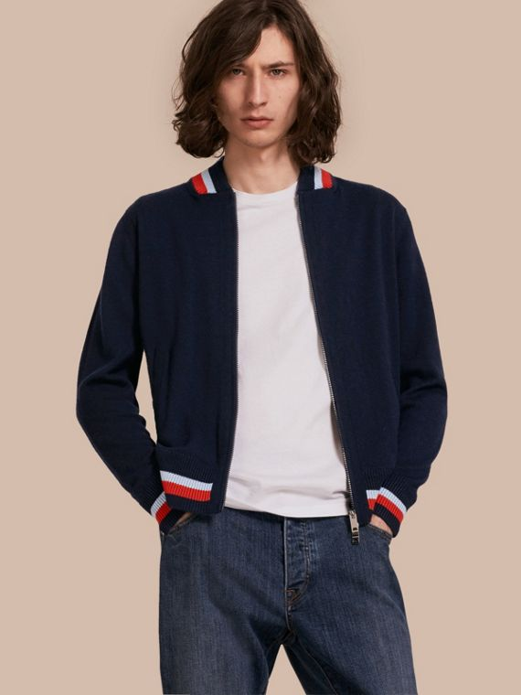 Knitted Cashmere Bomber Jacket