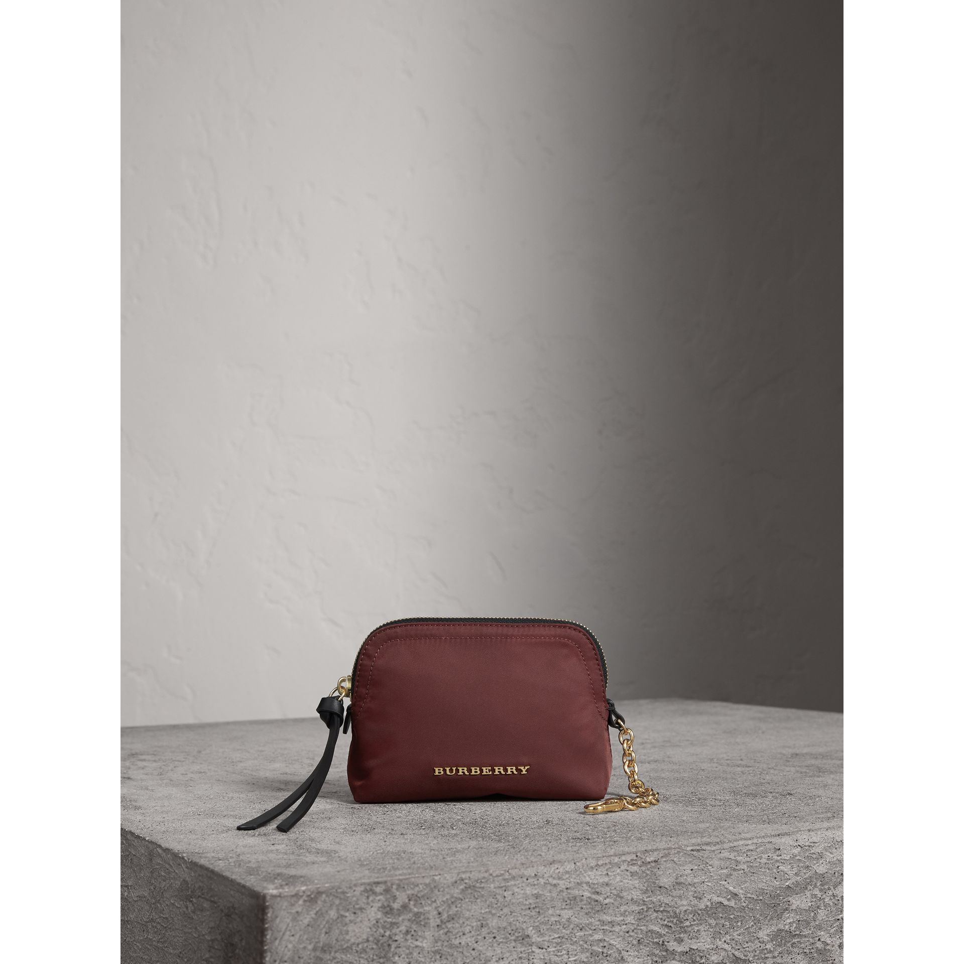Small Zip-top Technical Nylon Pouch in Burgundy Red - Women | Burberry - gallery image 2