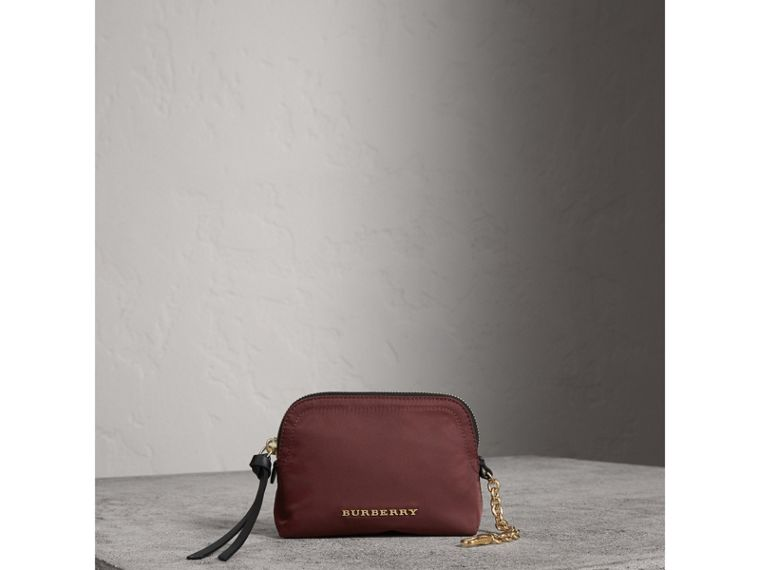 Small Zip-top Technical Nylon Pouch in Burgundy Red - Women | Burberry - cell image 1