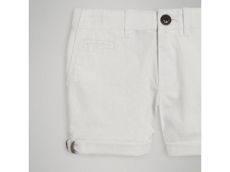 Cotton Twill Chino Shorts in White - Girl | Burberry - cell image 4