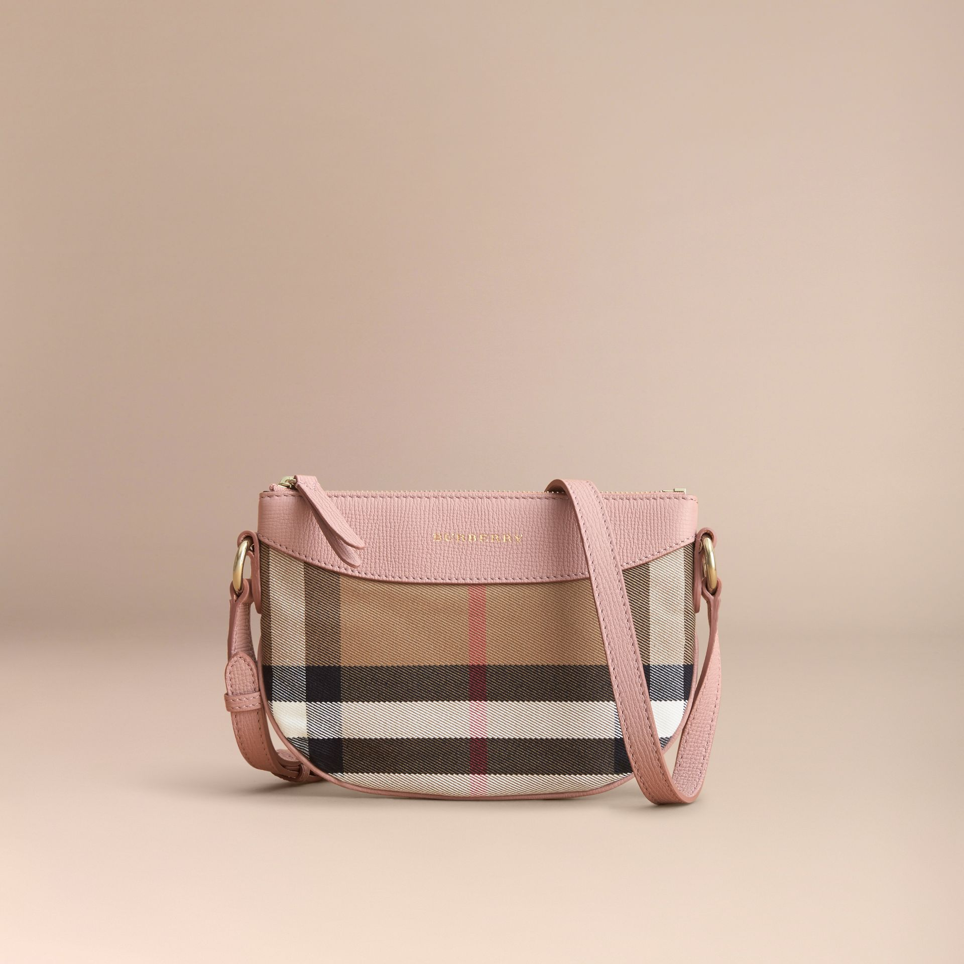 House Check and Leather Crossbody Bag in Pale Orchid | Burberry - gallery image 5
