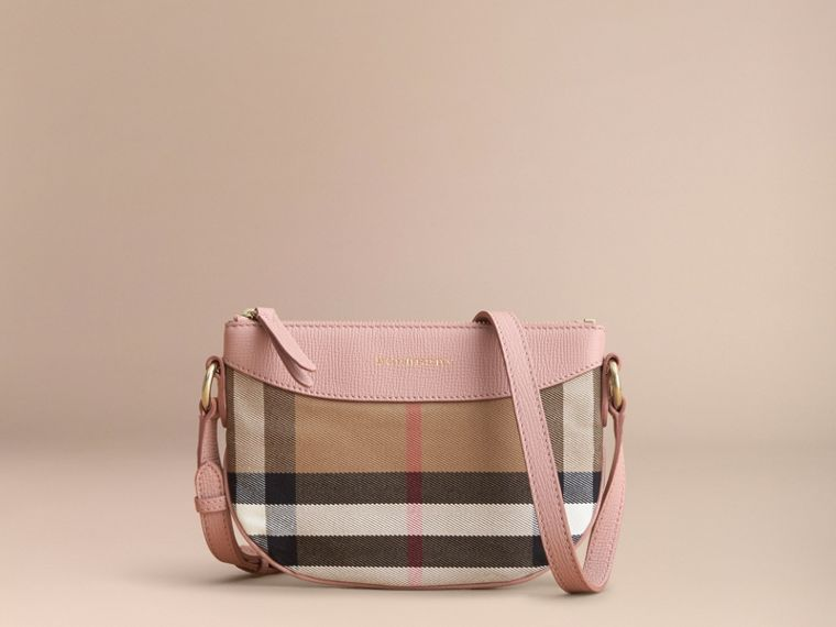 House Check and Leather Crossbody Bag in Pale Orchid | Burberry - cell image 4
