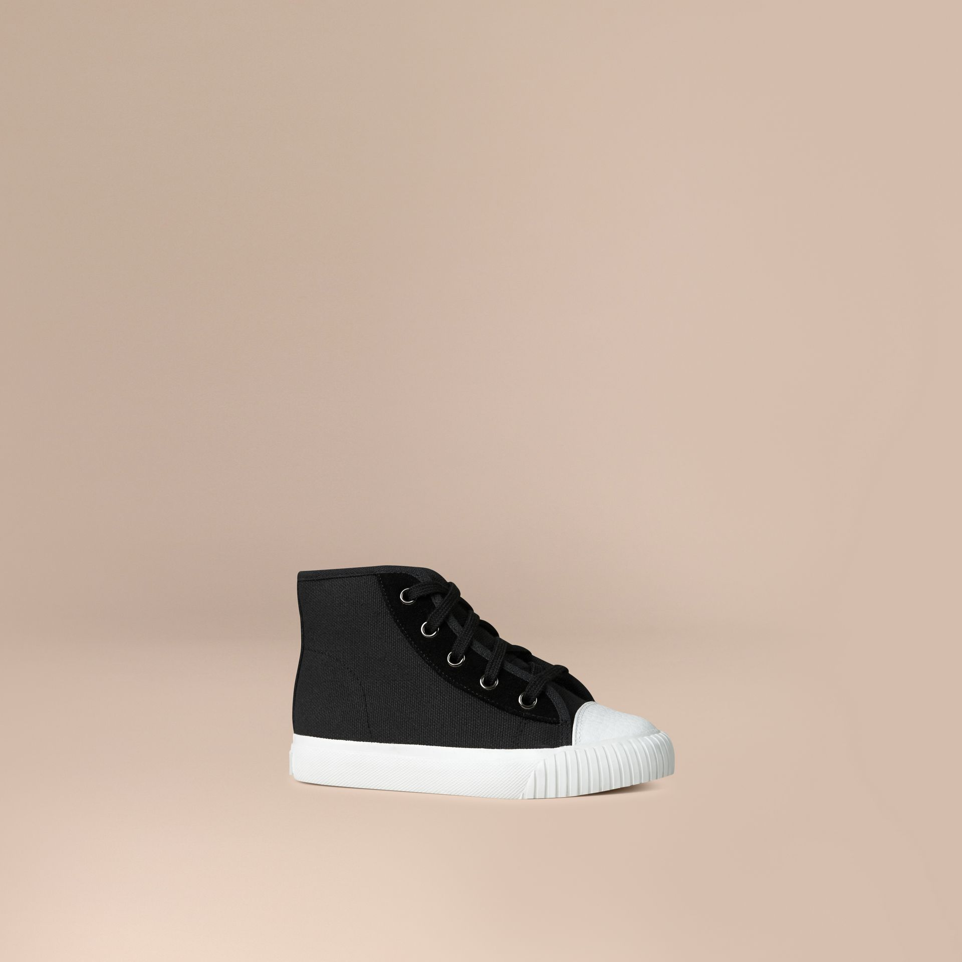 High-top Canvas Trainers in Black | Burberry Australia - gallery image 1