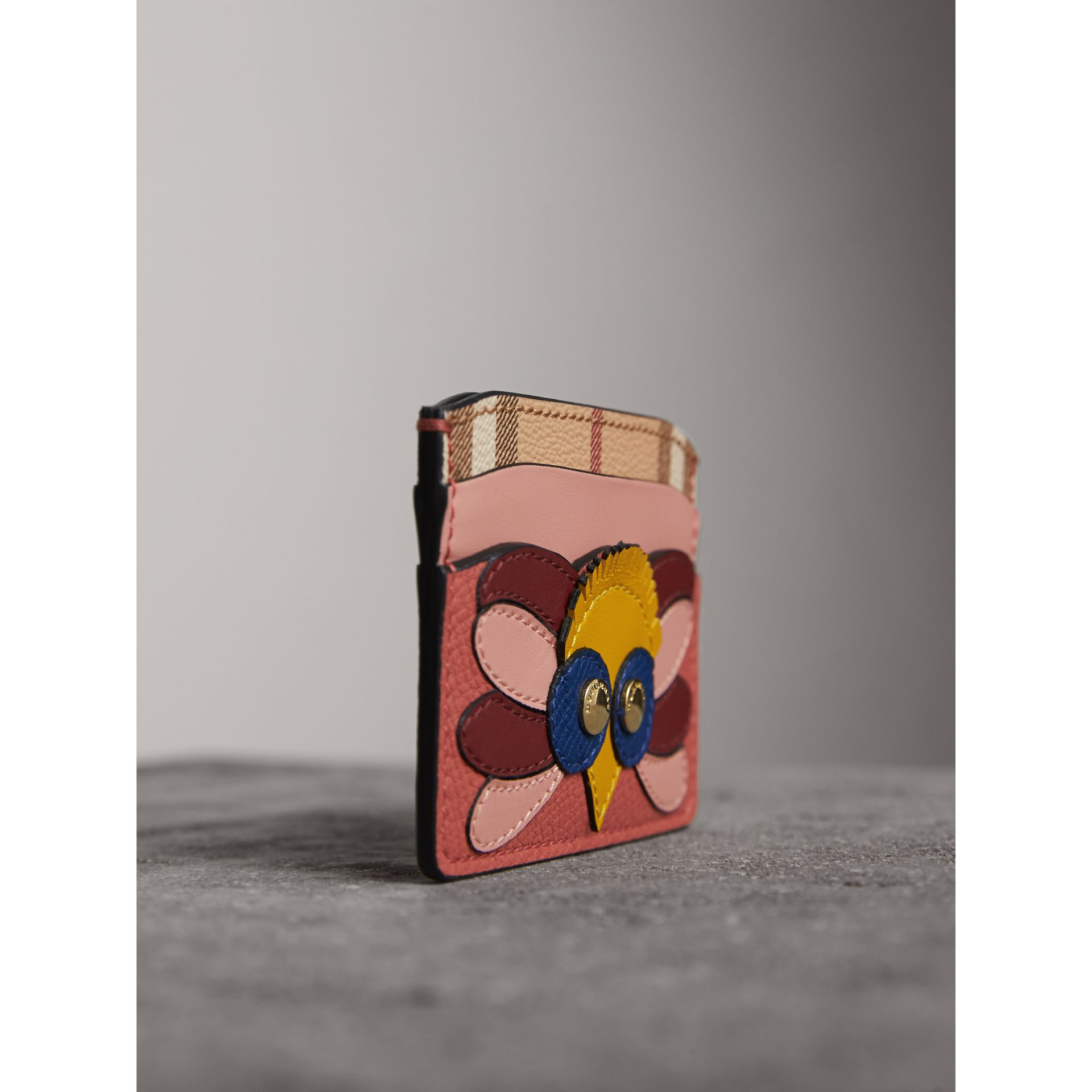 Beasts Motif Haymarket Check and Leather Card Case in Cinnamon Red - Women | Burberry - gallery image 5
