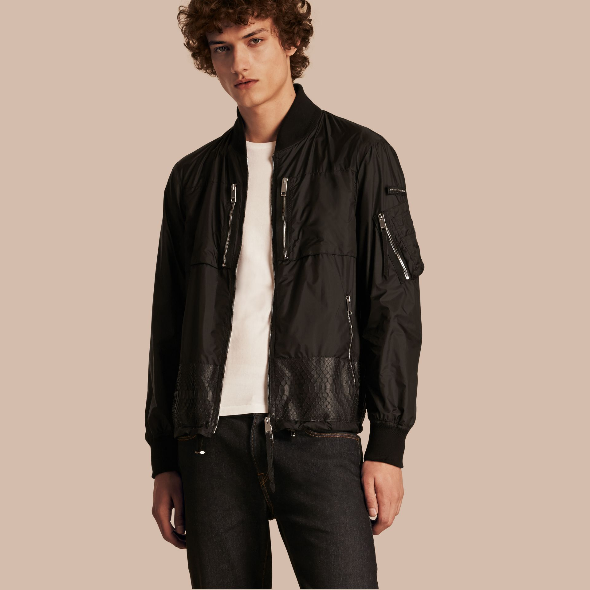 Lightweight Technical Bomber Jacket with Snakeskin in Black - Men | Burberry Canada - gallery image 1