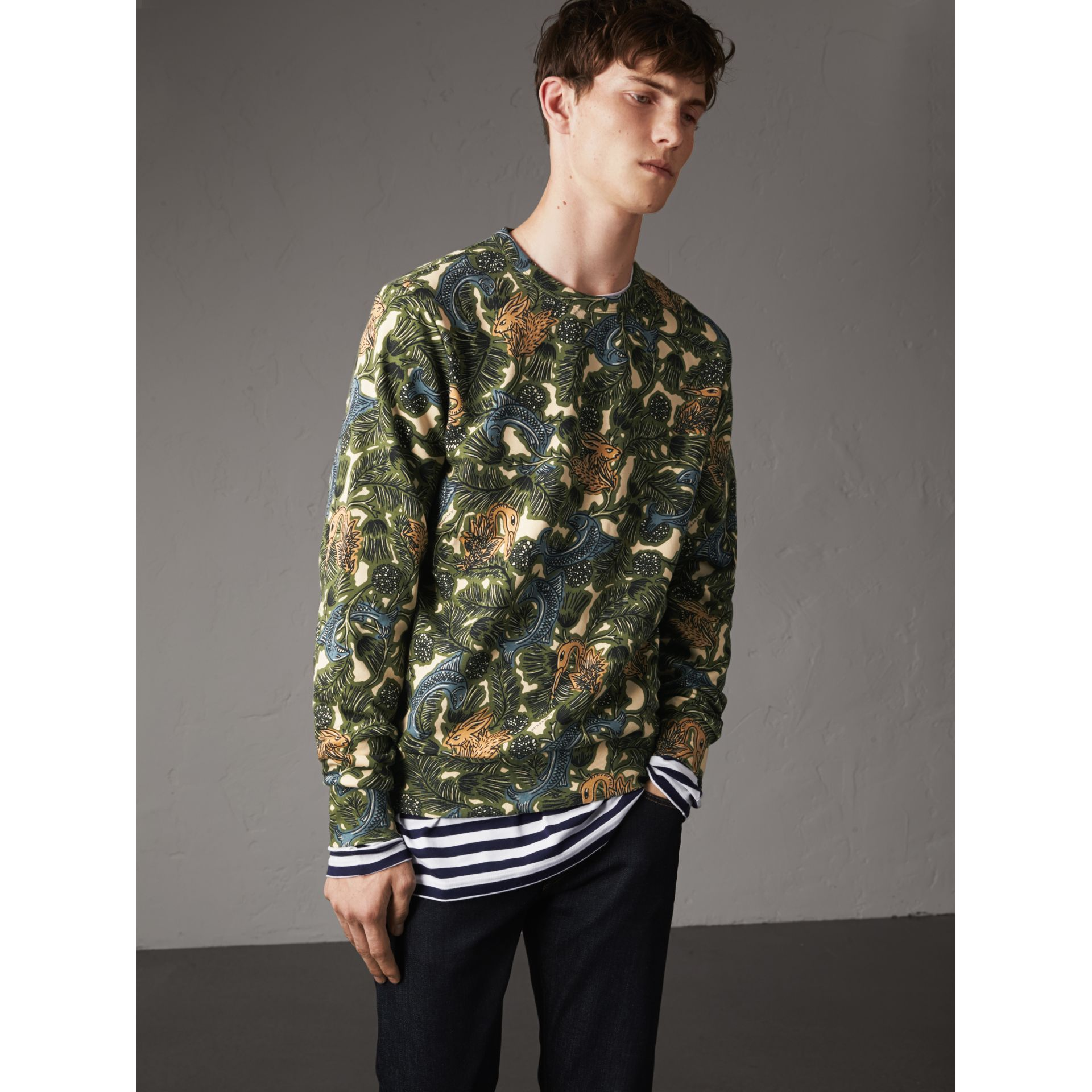 Beasts Print Cotton Sweatshirt in Sage Green - Men | Burberry - gallery image 1