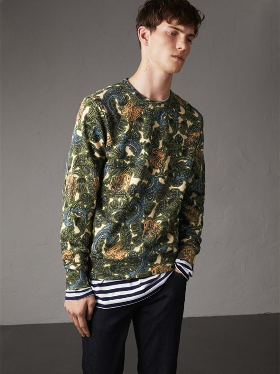 Beasts Print Cotton Sweatshirt in Sage Green - Men | Burberry Australia