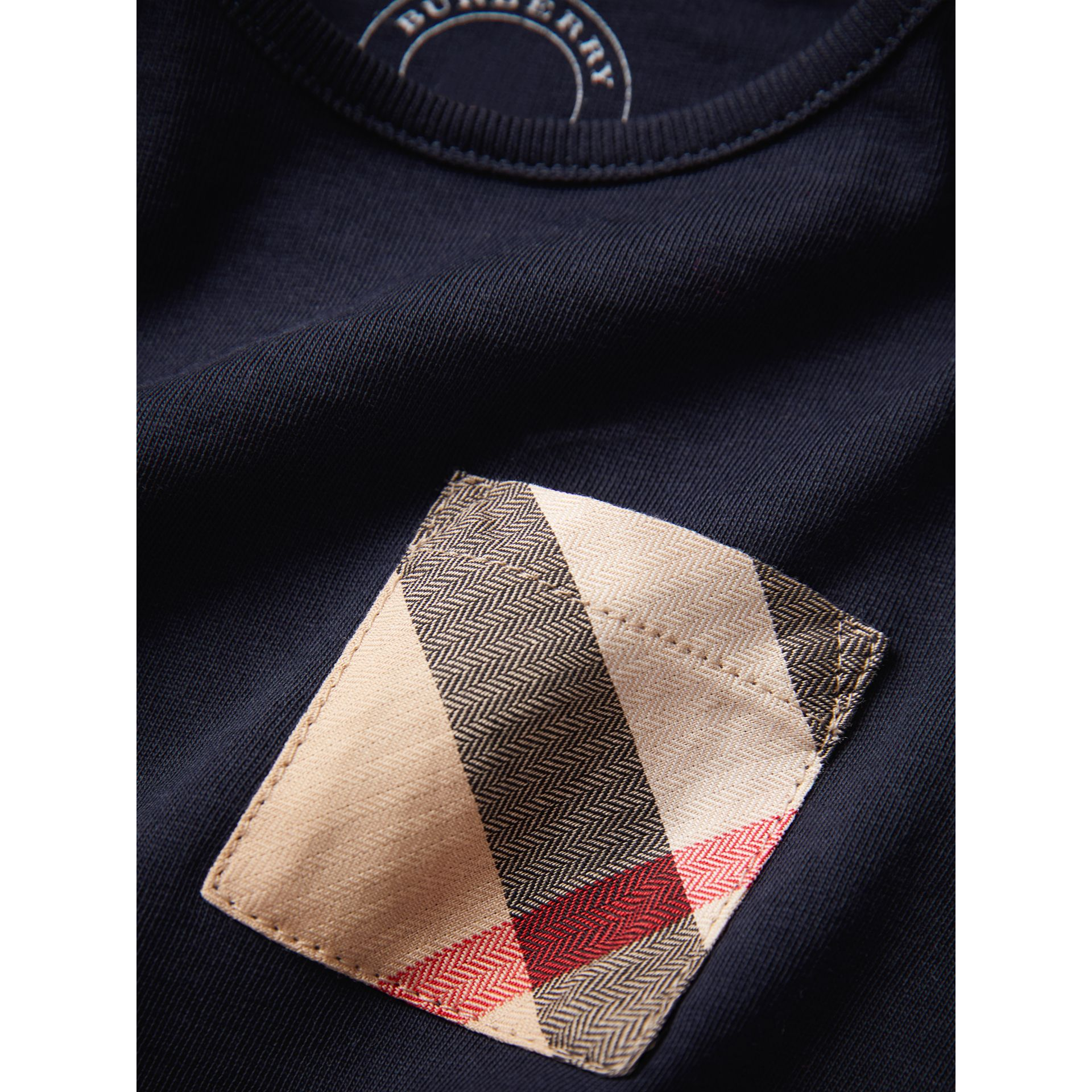Long-sleeve Check Pocket Cotton Top in True Navy | Burberry - gallery image 1
