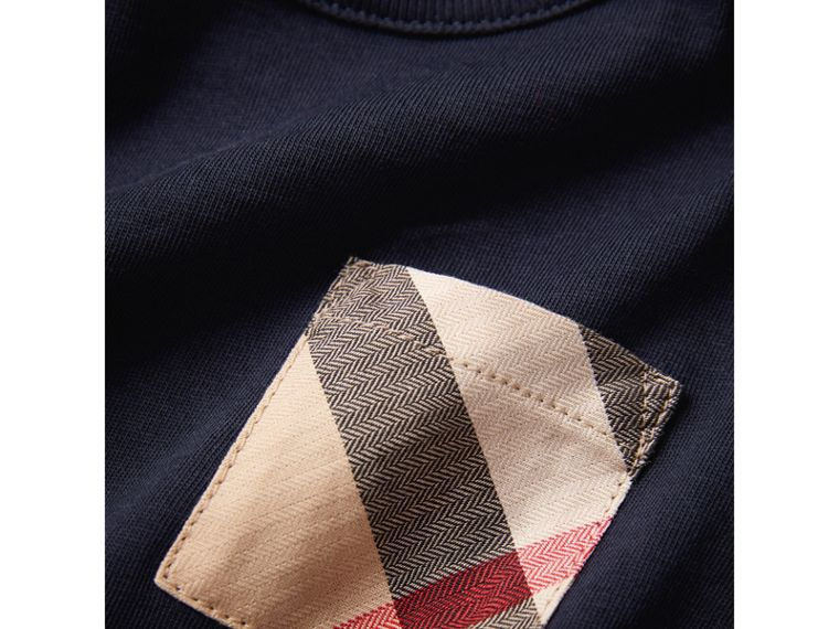 Long-sleeve Check Pocket Cotton Top in True Navy | Burberry - cell image 1