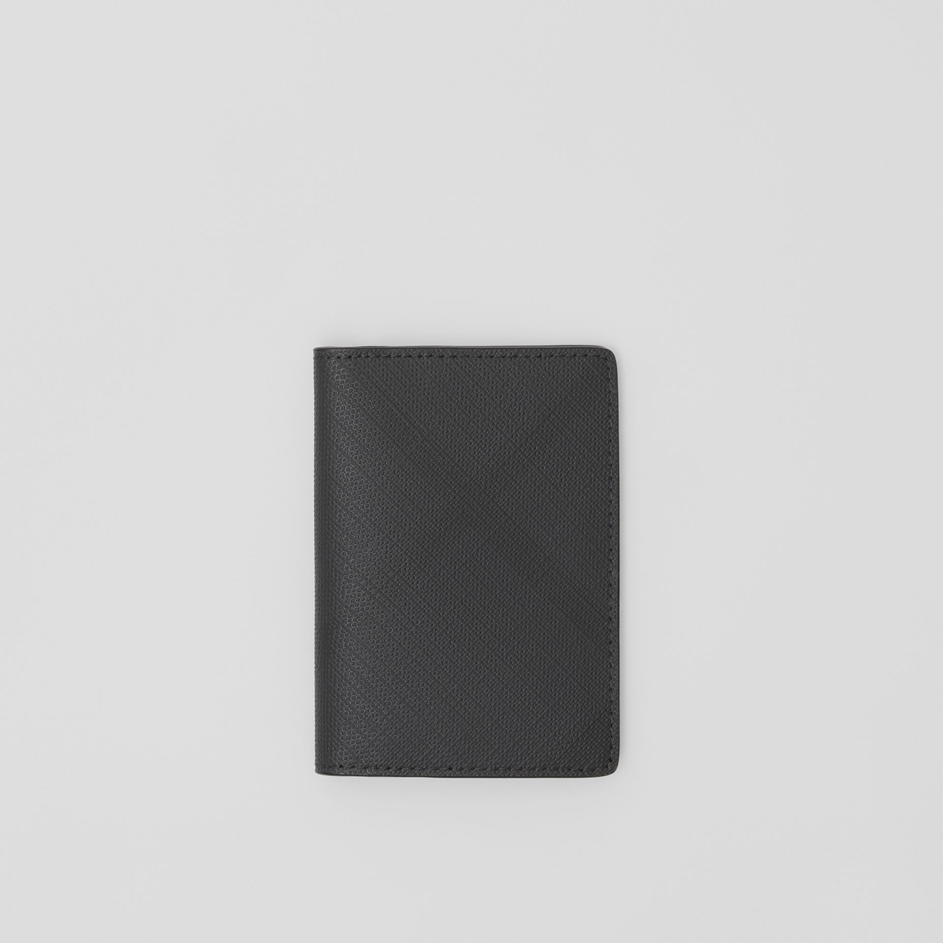 London Check and Leather Bifold Card Case in Dark Charcoal - Men | Burberry - gallery image 0