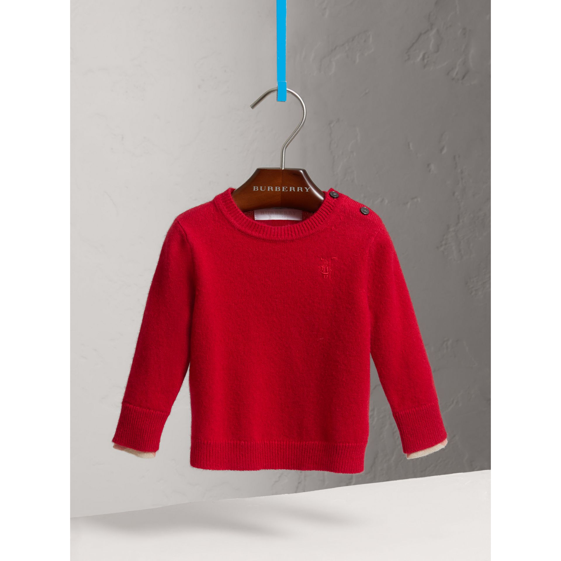 Check Detail Cashmere Sweater in Parade Red | Burberry Australia - gallery image 2