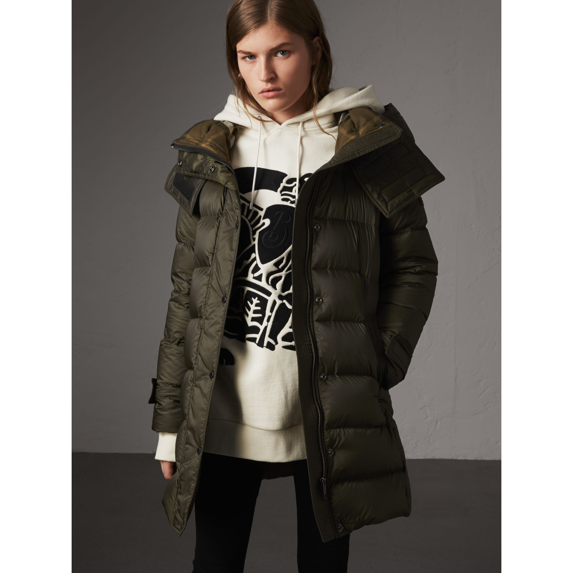 Detachable Hooded Down-filled Puffer Coat in Olive - Women | Burberry - gallery image 6