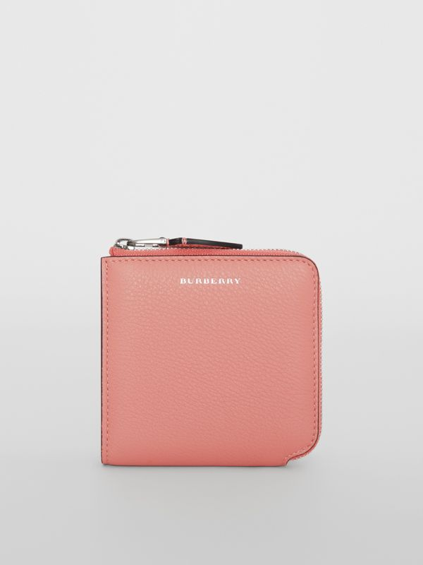 Grainy Leather Square Ziparound Wallet in Dusty Rose - Women | Burberry Singapore - cell image 3