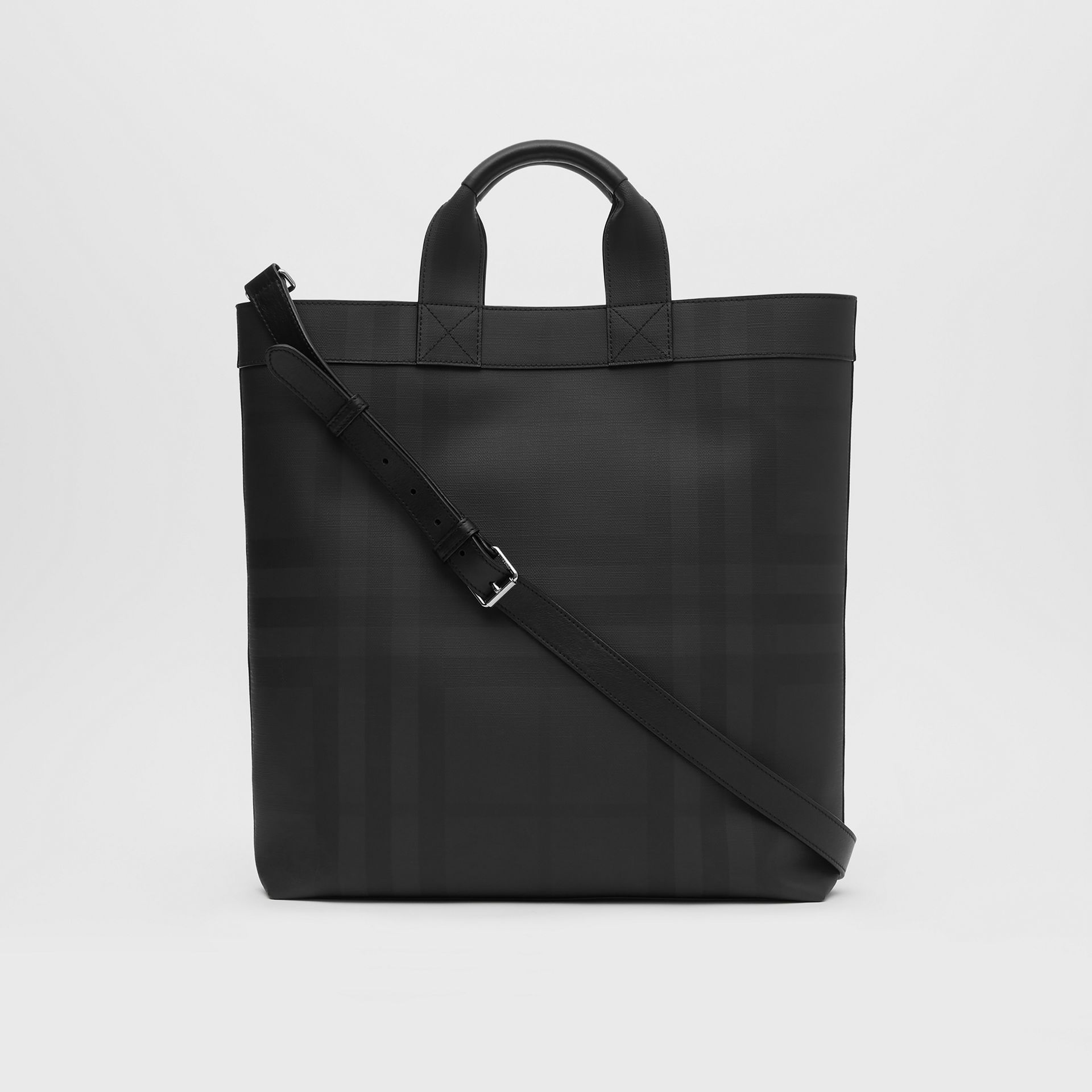 Logo Graphic London Check Tote in Dark Charcoal - Men | Burberry - gallery image 9
