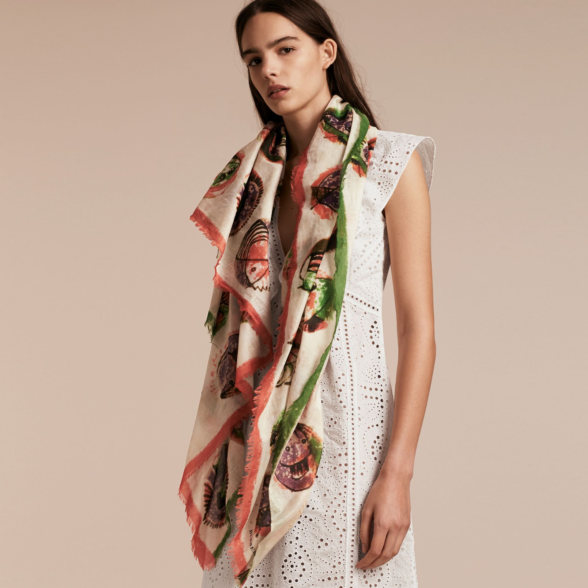 Pallas Heads Print Cotton Square – Large in Natural White - Women | Burberry - gallery image 3