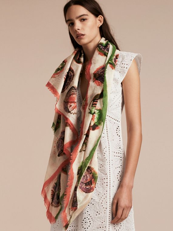 Pallas Heads Print Cotton Square – Large in Natural White - Women | Burberry Australia - cell image 2