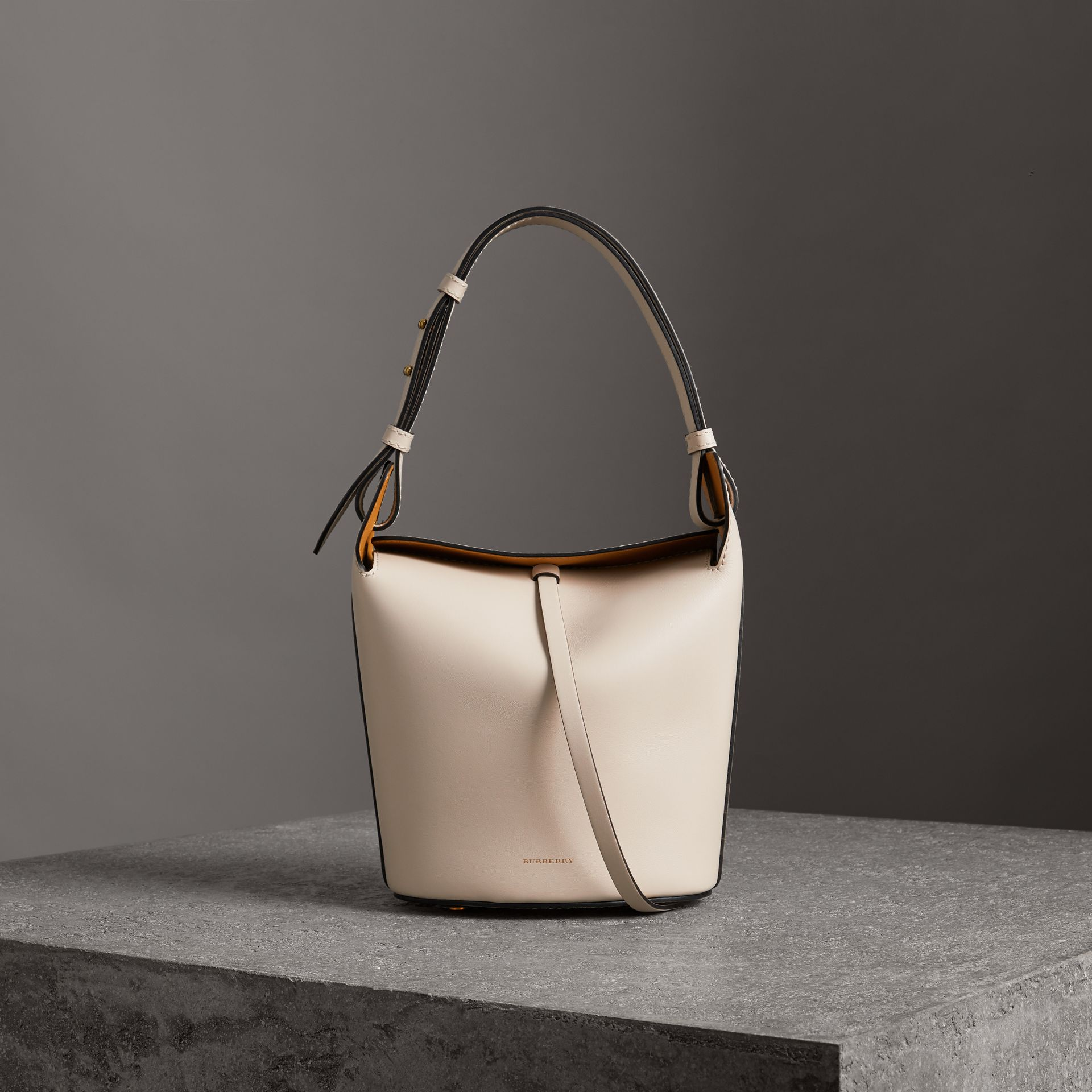 The Small Leather Bucket Bag in Limestone - Women | Burberry - gallery image 0