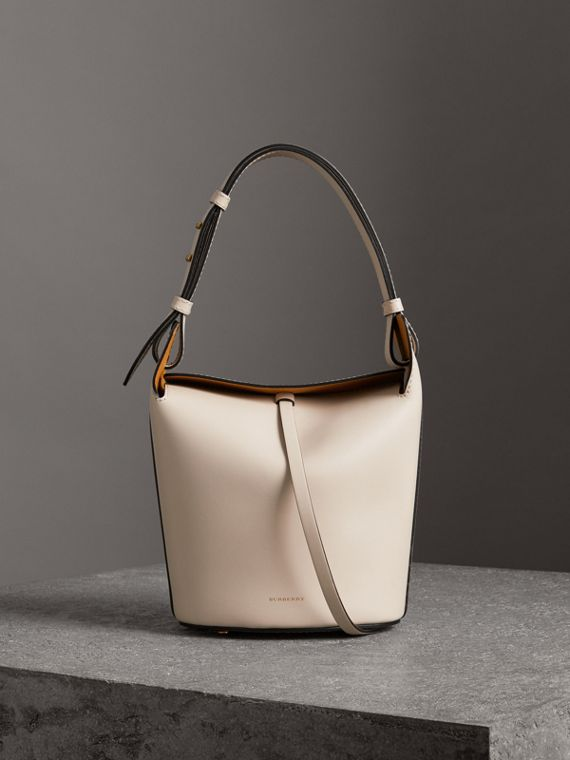 The Small Leather Bucket Bag in Limestone
