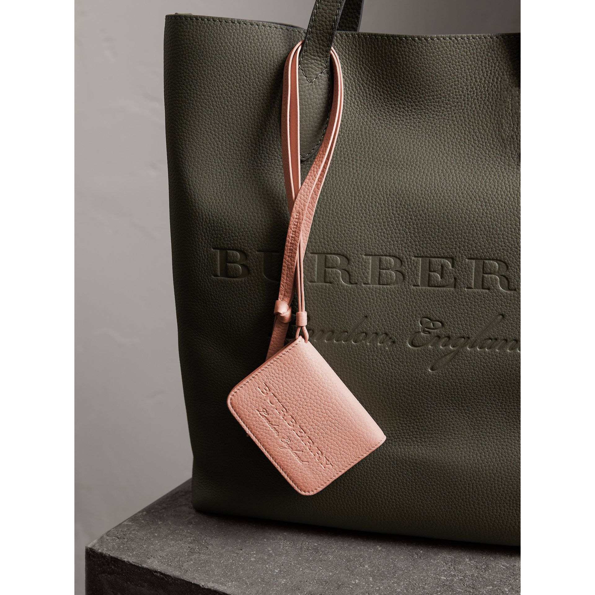Embossed Leather ID Card Case Charm in Pale Ash Rose | Burberry - gallery image 1