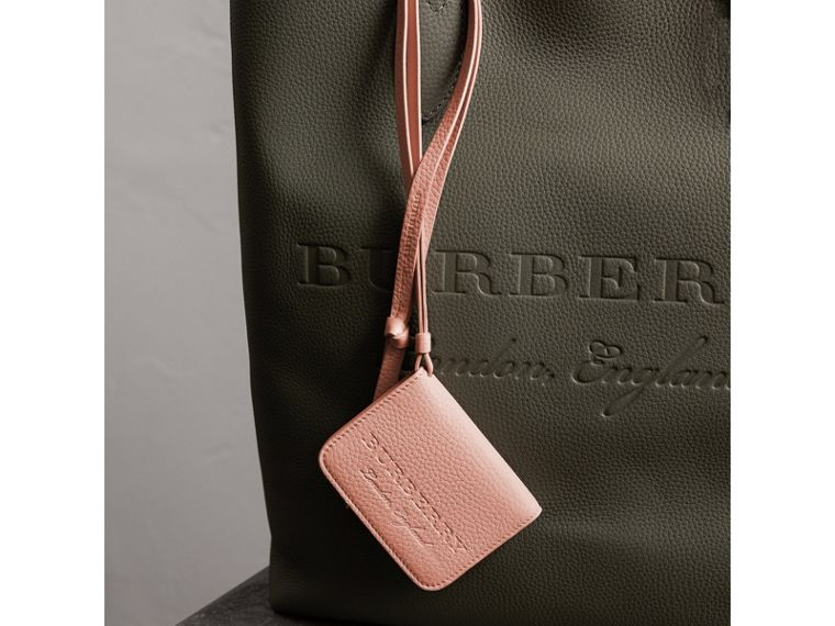 Embossed Leather ID Card Case Charm in Pale Ash Rose - Women | Burberry - cell image 1