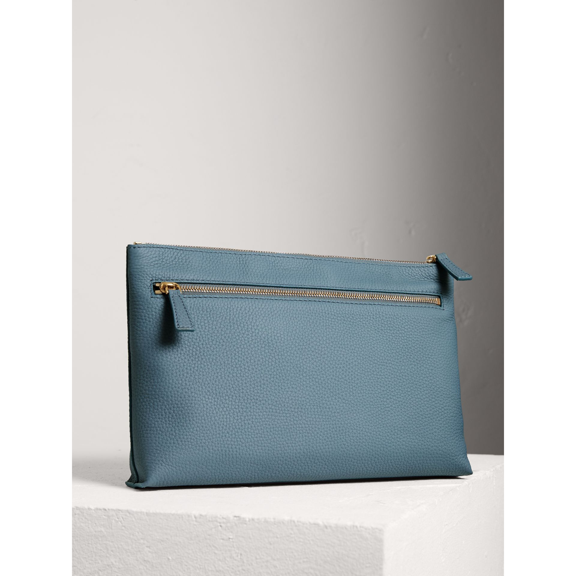 Large Embossed Leather Zip Pouch in Dusty Teal Blue | Burberry - gallery image 2
