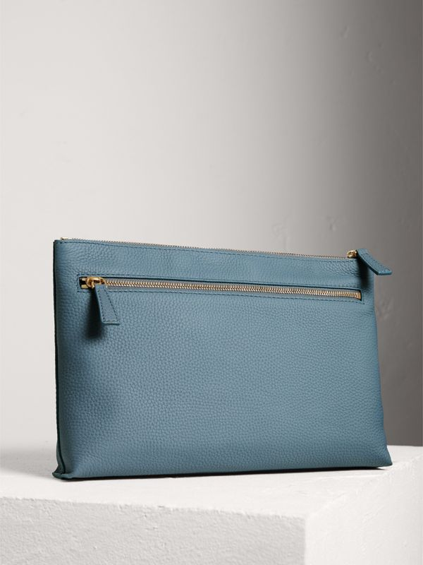 Large Embossed Leather Zip Pouch in Dusty Teal Blue | Burberry - cell image 2