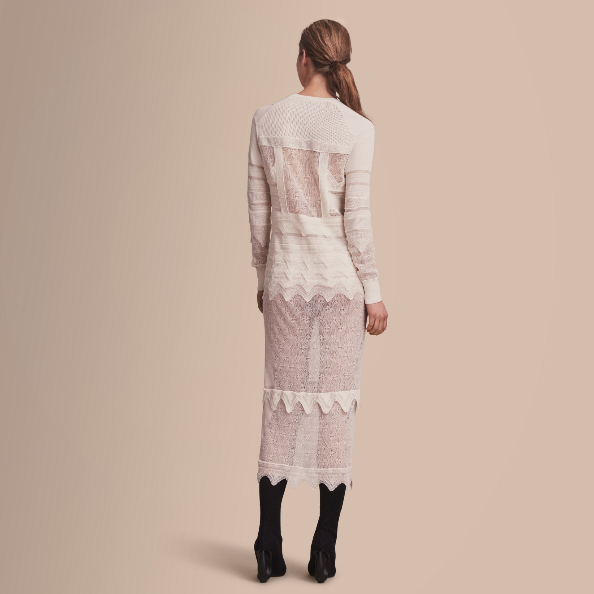 Knitted Lace Column Dress - Women | Burberry - gallery image 3