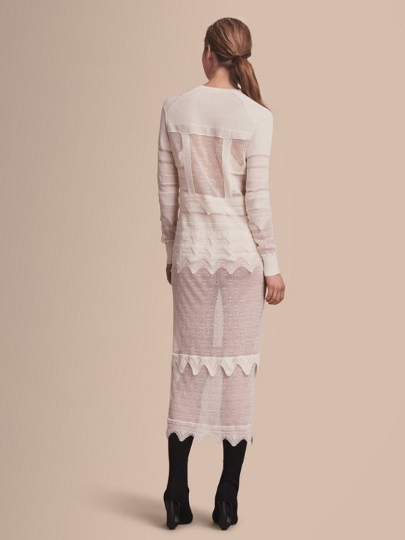 Knitted Lace Column Dress - Women | Burberry - cell image 2