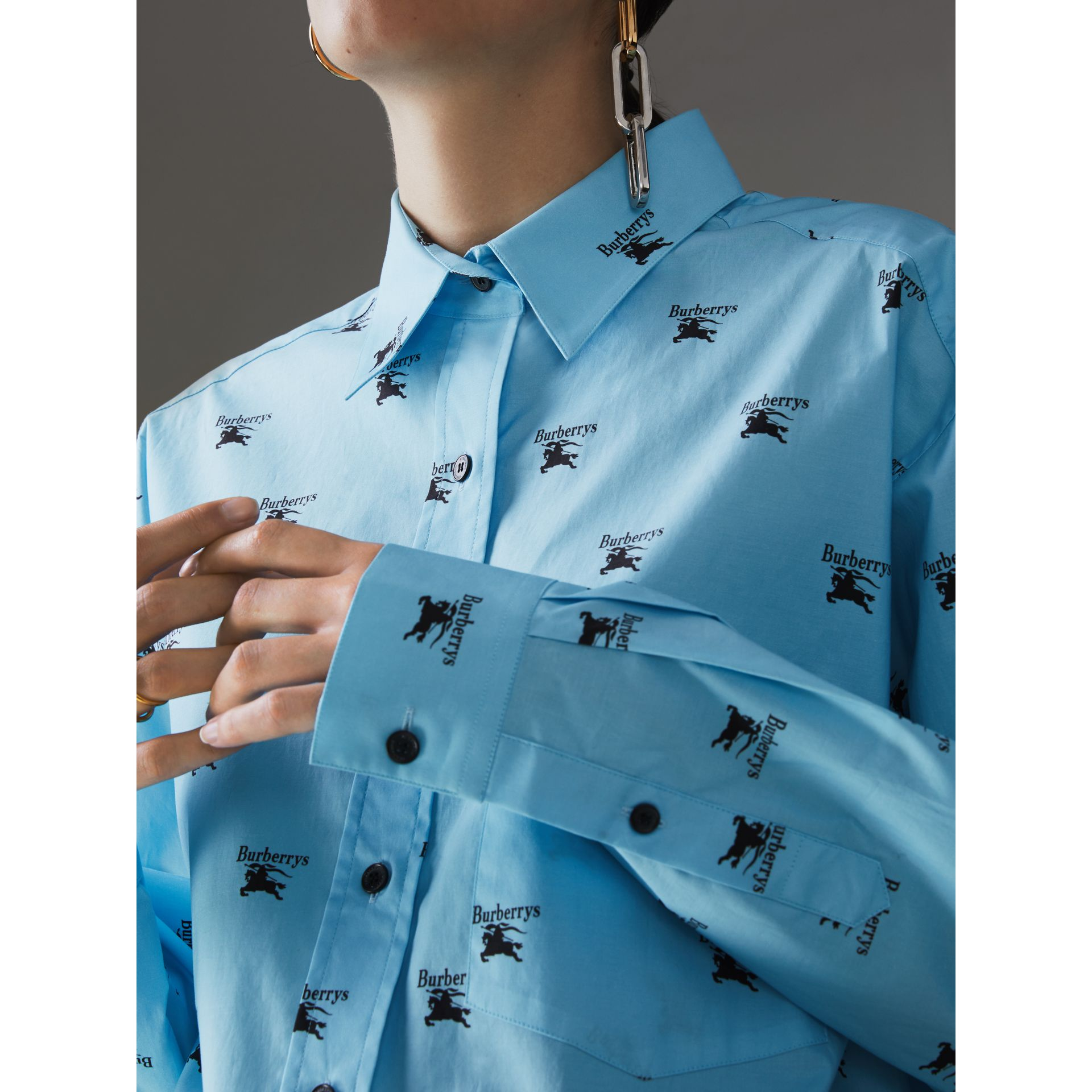 Logo Print Stretch Cotton Shirt in Sky Blue - Women | Burberry - gallery image 1