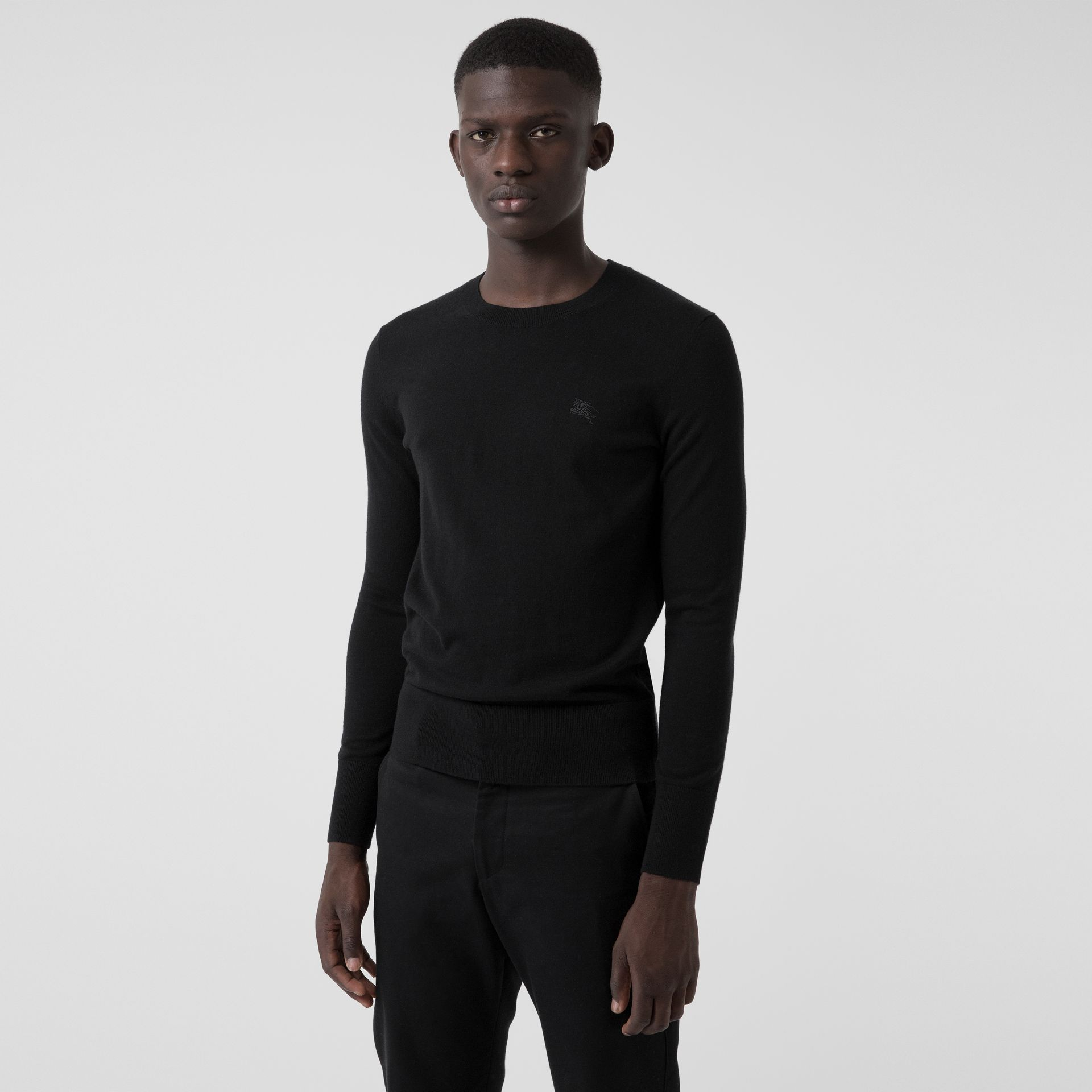 Crew Neck Cashmere Sweater in Black - Men | Burberry - gallery image 0