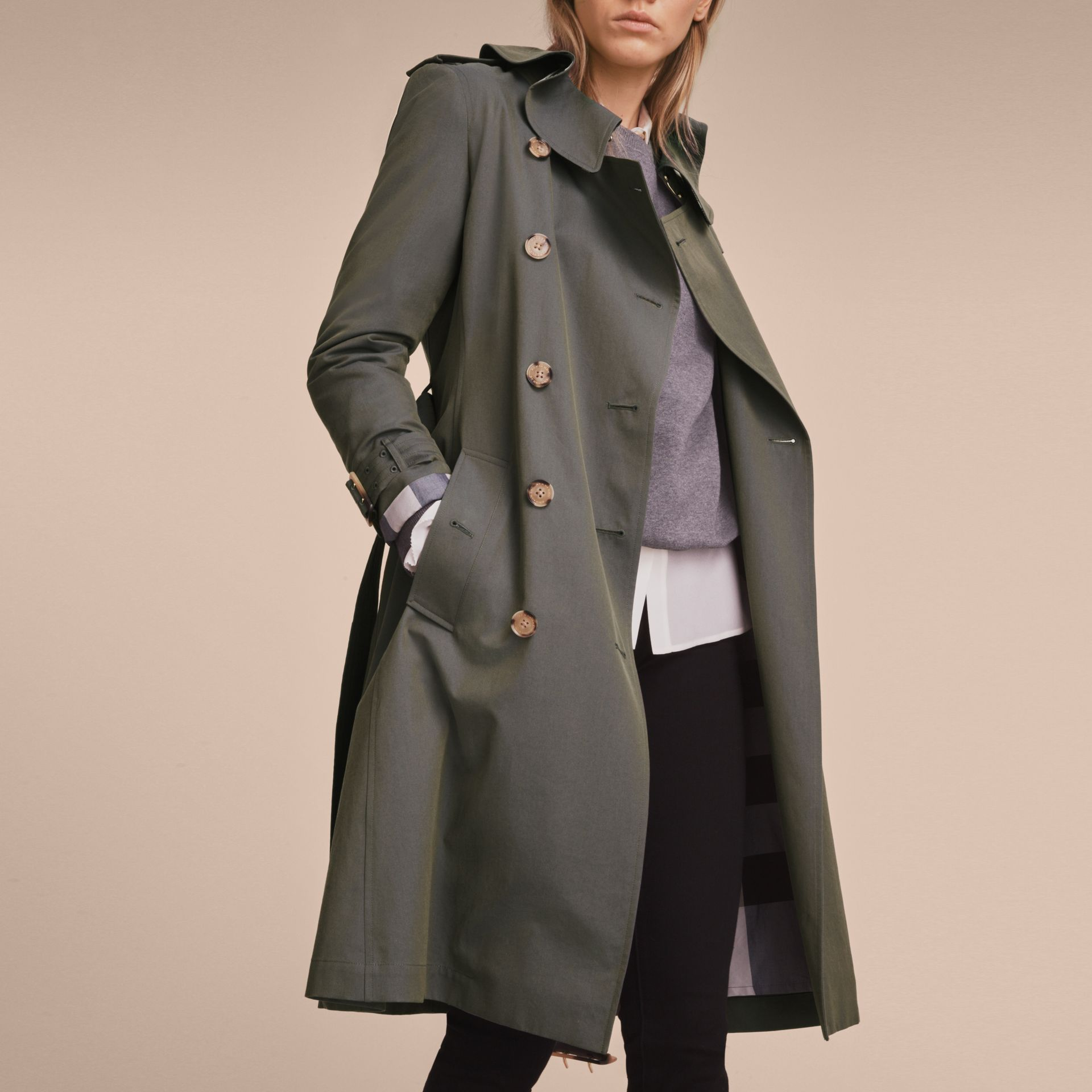 Tropical Gabardine Trench Coat with Ruffle Detail in Storm Blue - Women | Burberry Australia - gallery image 6