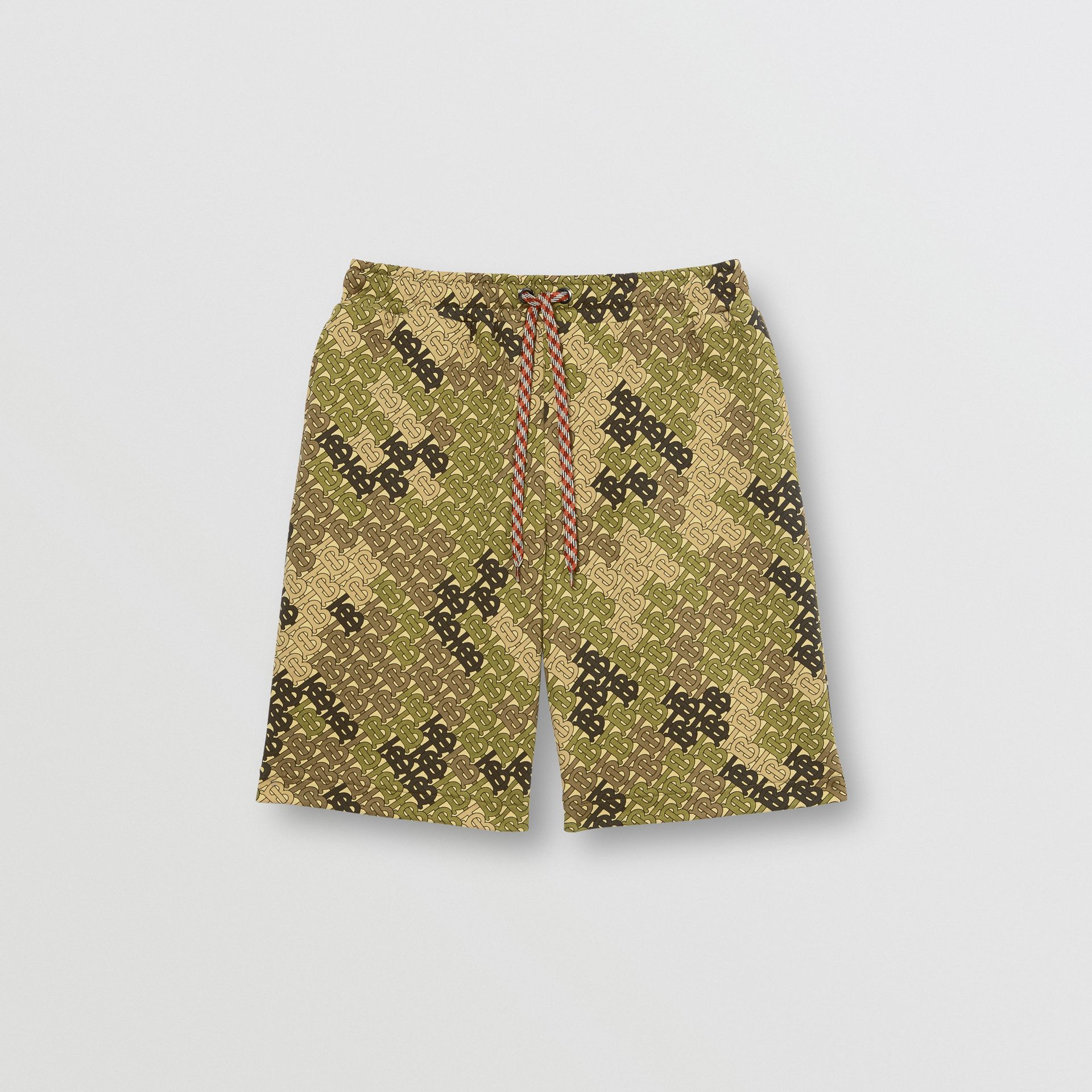 Monogram Print Cotton Drawcord Shorts in Khaki Green | Burberry - gallery image 3