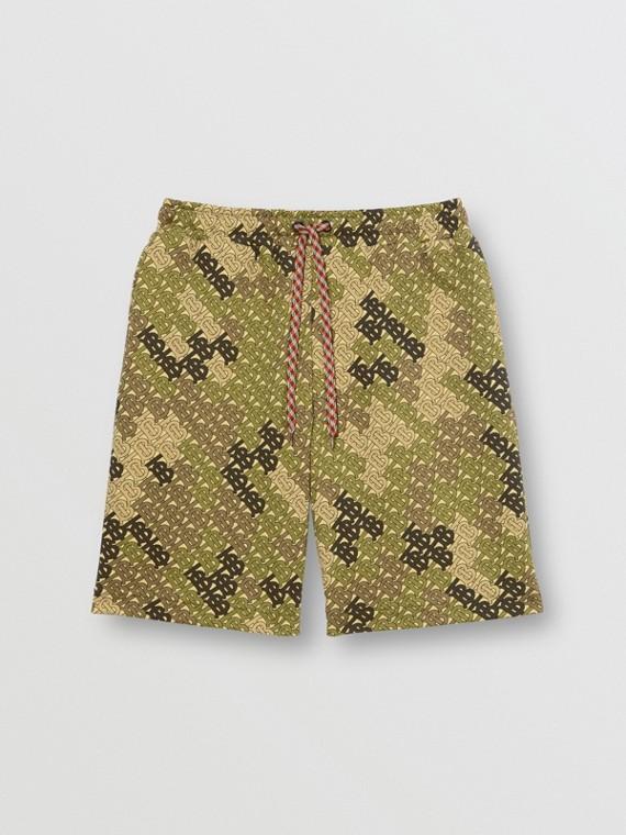 Short à cordon de serrage en coton Monogram (Vert Kaki)