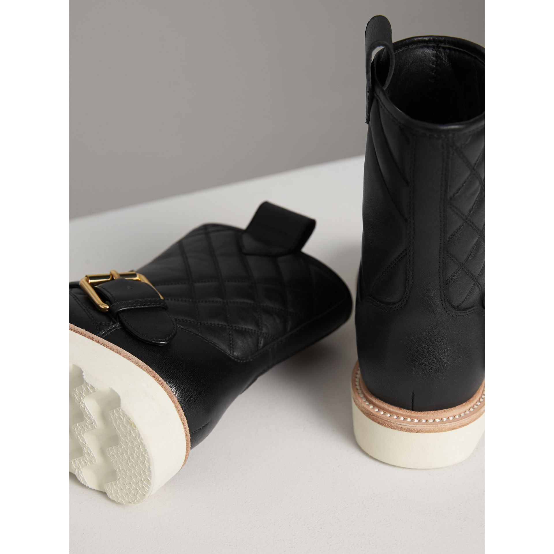 Quilted Leather Weather Boots in Black | Burberry Singapore - gallery image 3