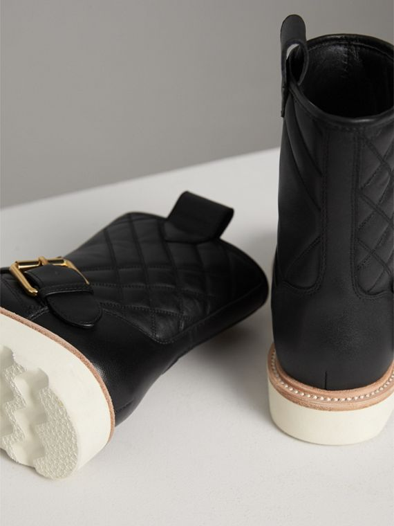 Quilted Leather Weather Boots in Black | Burberry Singapore - cell image 2