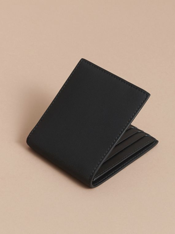 Trench Leather International Bifold Wallet in Black - Men | Burberry Australia - cell image 3