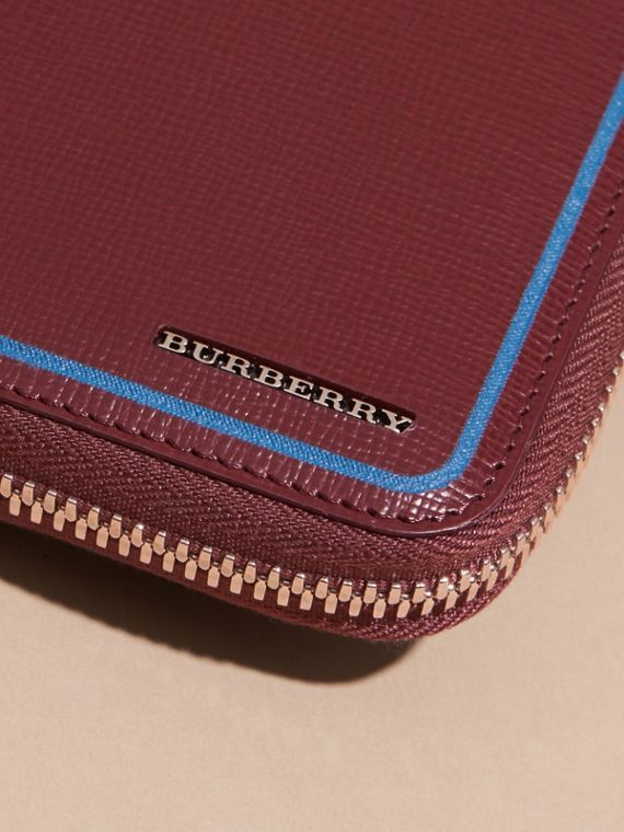 Burgundy red Border Detail London Leather Ziparound Wallet Burgundy Red - cell image 2