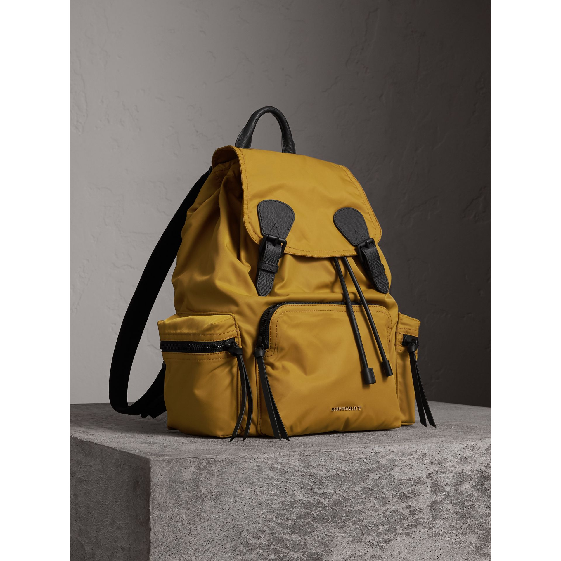 The Large Rucksack in Technical Nylon and Leather in Ochre Yellow - Men | Burberry - gallery image 7