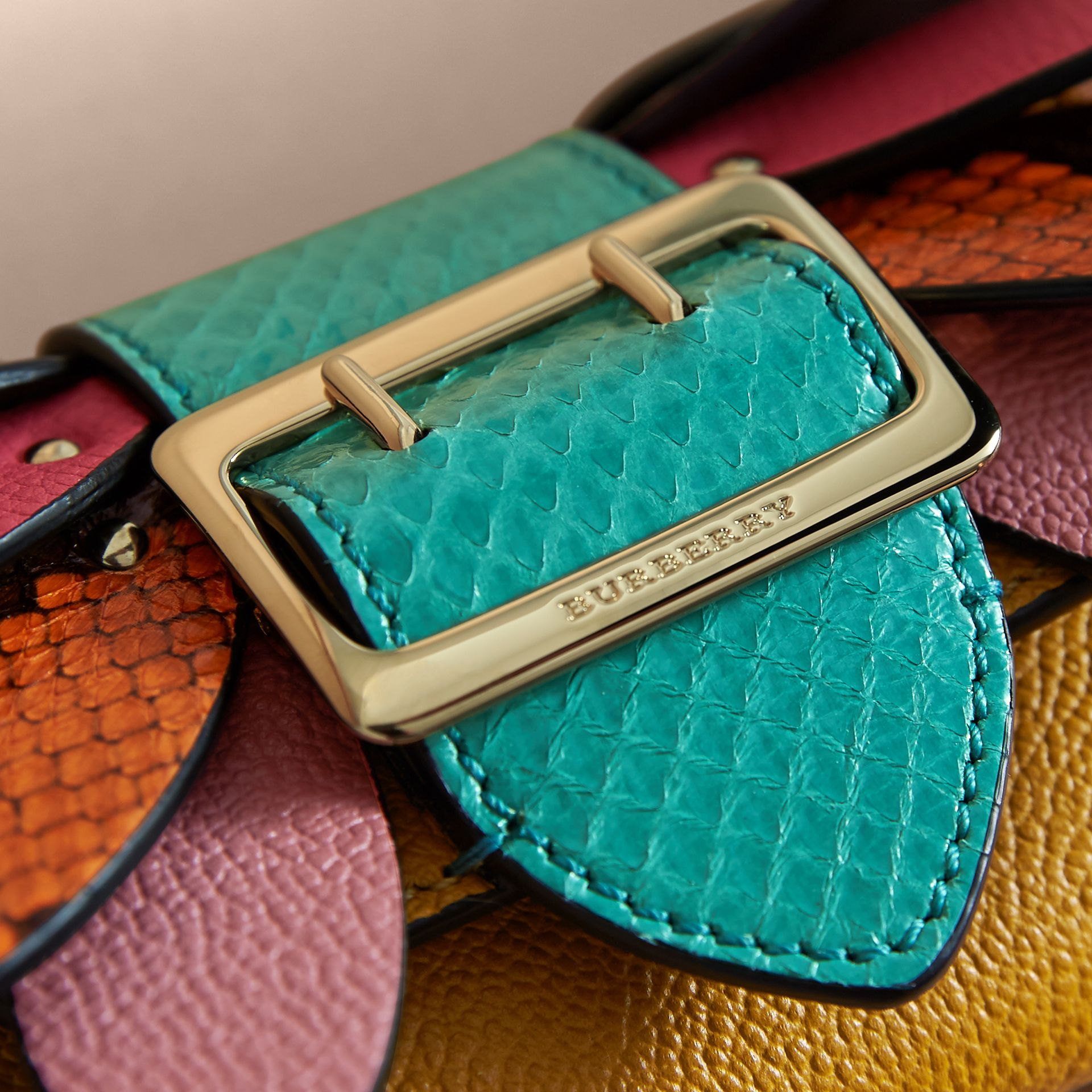 Snakeskin and Leather Appliqué Card Case Bright Straw - gallery image 2