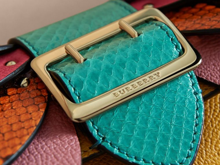 Snakeskin and Leather Appliqué Card Case in Bright Straw - Women | Burberry - cell image 1