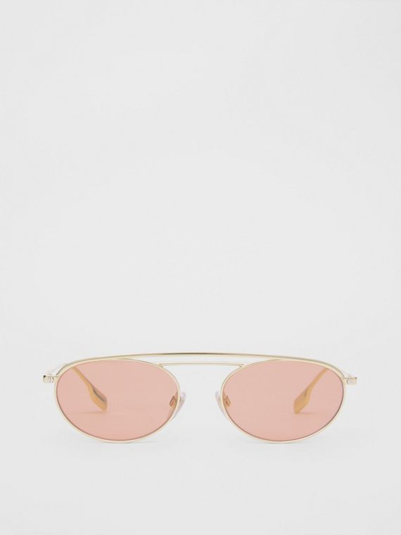 Oval Frame Sunglasses in Light Pink