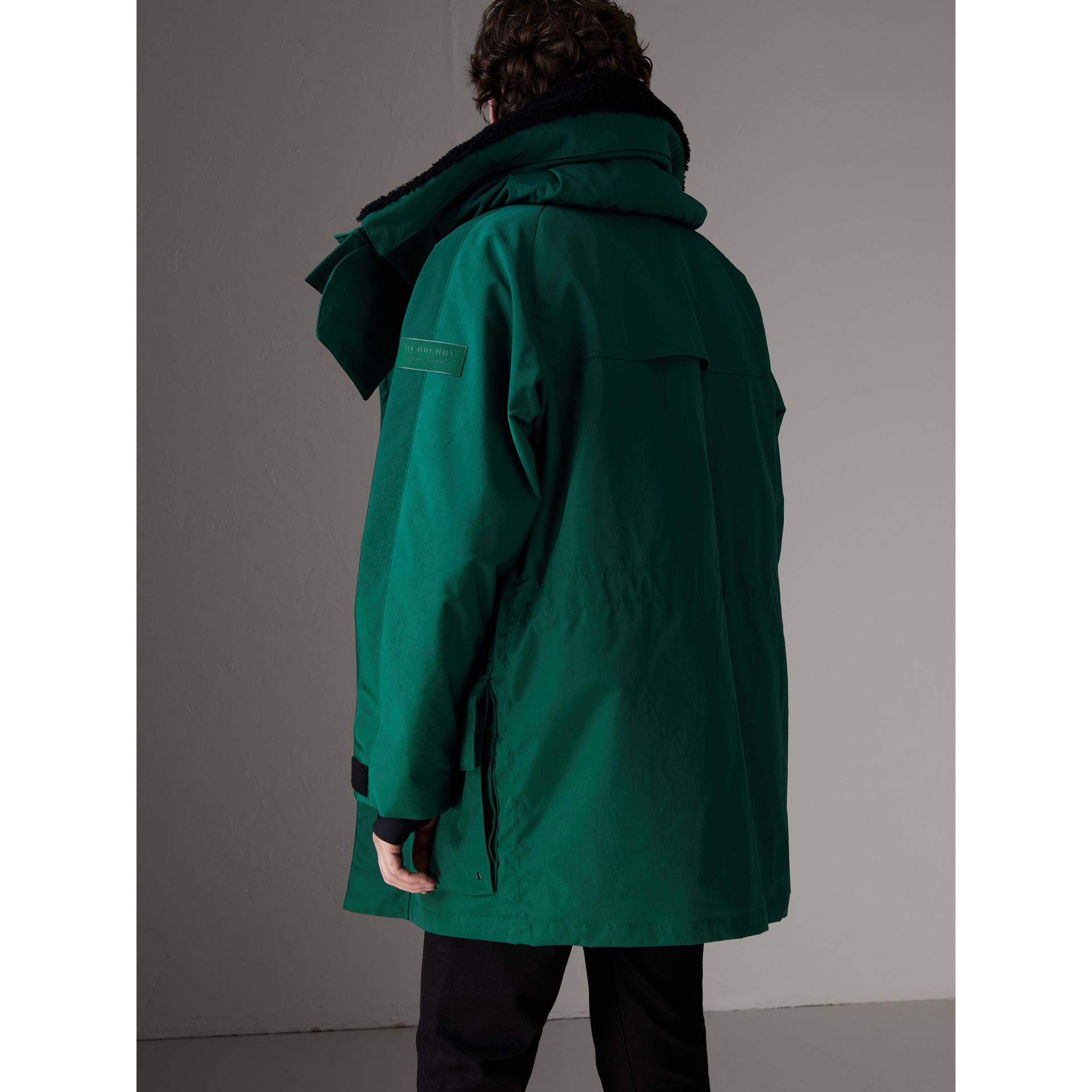 Detachable Shearling Collar Modular Jacket with Warmer in Sea Green - Men | Burberry - gallery image 3