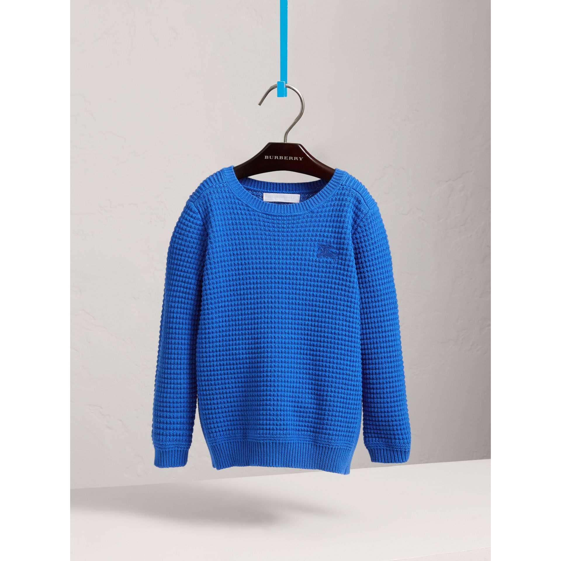 Waffle Knit Cotton Sweater in Cobalt Blue - Boy | Burberry - gallery image 2