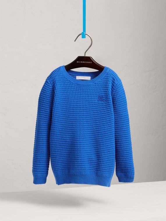 Waffle Knit Cotton Sweater in Cobalt Blue - Boy | Burberry - cell image 2
